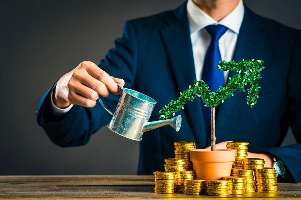 Un investisseur arrosant ses investissements régulièrement