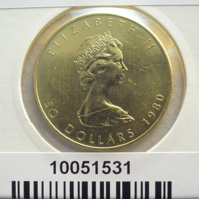 Réf. 10051531 Maple Leaf 1 once 50 Dollars Canada Elizabeth II Jeune - 999 - AVERS