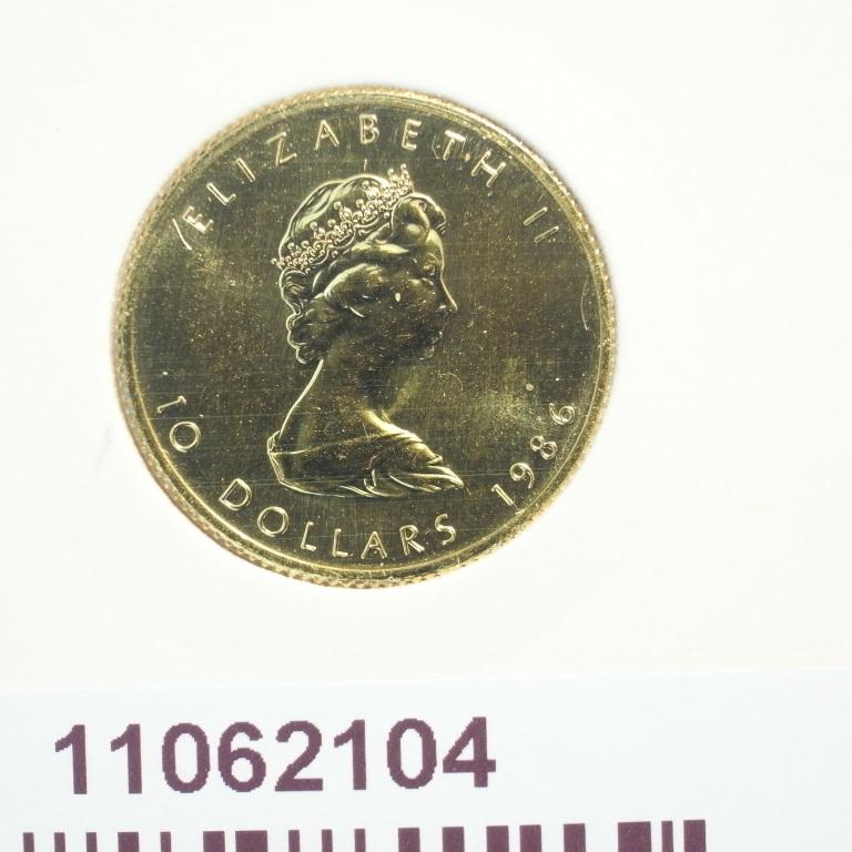 Réf. 11062104 Maple Leaf 1/4 once 10 Dollars Canada Elizabeth II avec tiare - AVERS