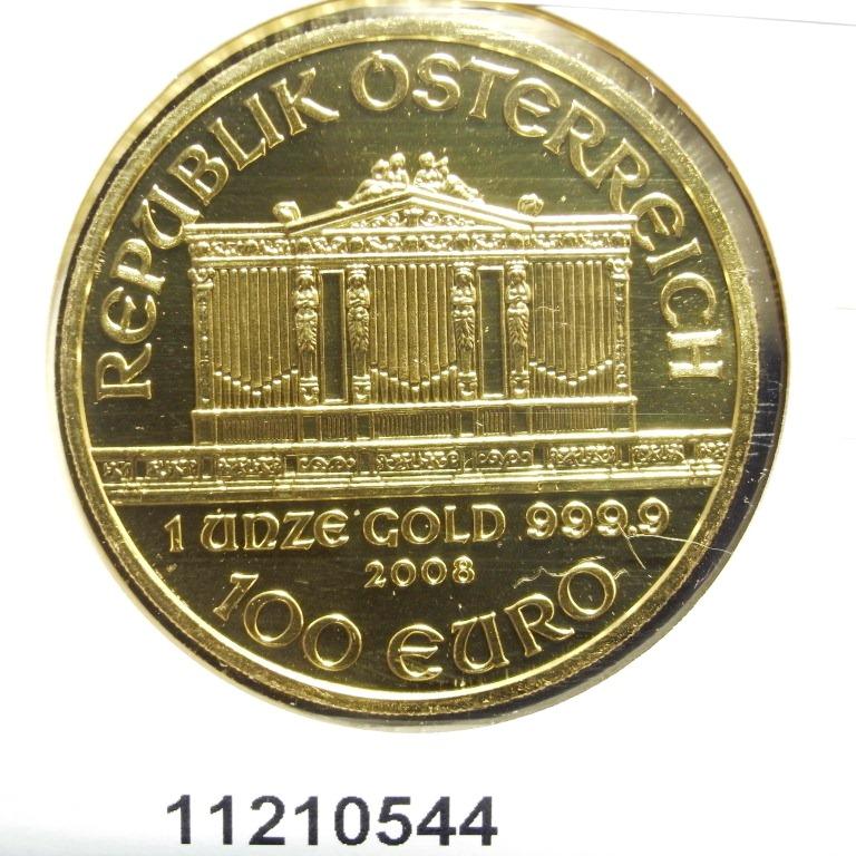 Réf. 11210544 Philharmonique de Vienne 1 once - 100 Euros  Golden Hall Organ - AVERS