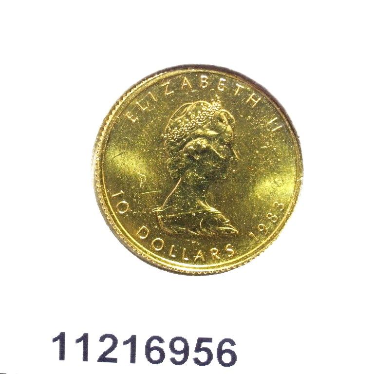 Réf. 11216956 Maple Leaf 1/4 once 10 Dollars Canada Elizabeth II avec tiare - AVERS