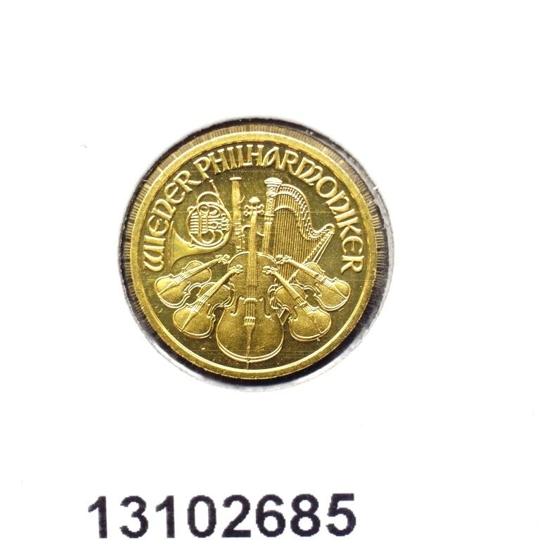 Réf. 13102685 Philharmonique de Vienne 1/10 once - 10 Euros  Golden Hall Organ - AVERS