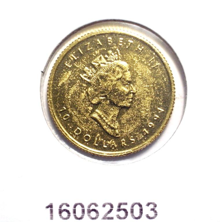 Réf. 16062503 Maple Leaf 1/4 once 10 Dollars Canada Elizabeth  II tête couronnée - AVERS
