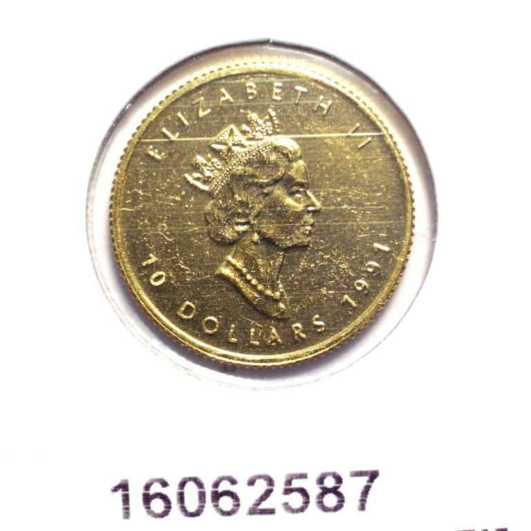 Réf. 16062587 Maple Leaf 1/4 once 10 Dollars Canada Elizabeth  II tête couronnée - AVERS