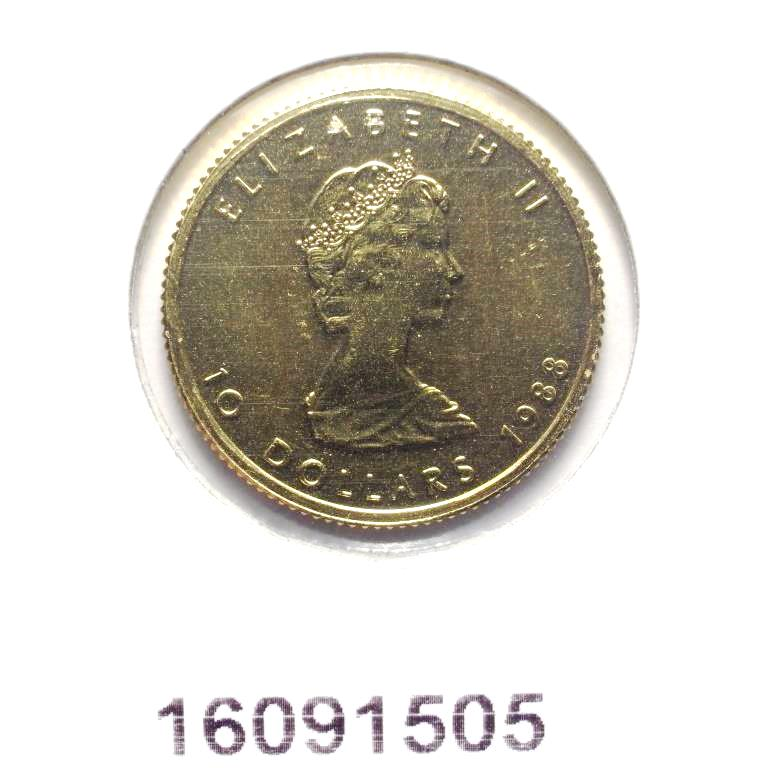 Réf. 16091505 Maple Leaf 1/4 once 10 Dollars Canada Elizabeth II avec tiare - AVERS