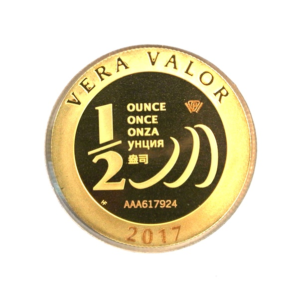 Réf. 617924 Demi-Vera Valor (1/2 once LSP)  2017 - 5 langues - AVERS