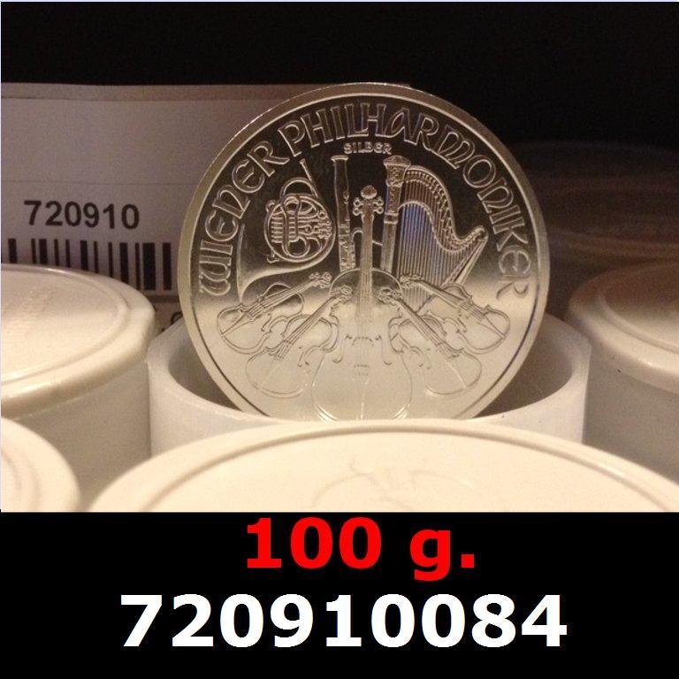 Réf. 720910084 100 grammes d\'argent pur - Philharmonique de Vienne (LSP)  Issu d un lot de 1000 pièces d une once - AVERS