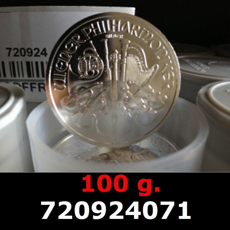 Réf. 720924071 100 grammes d\'argent pur - Philharmonique de Vienne (LSP)  Issu d un lot de 1000 pièces d une once - AVERS