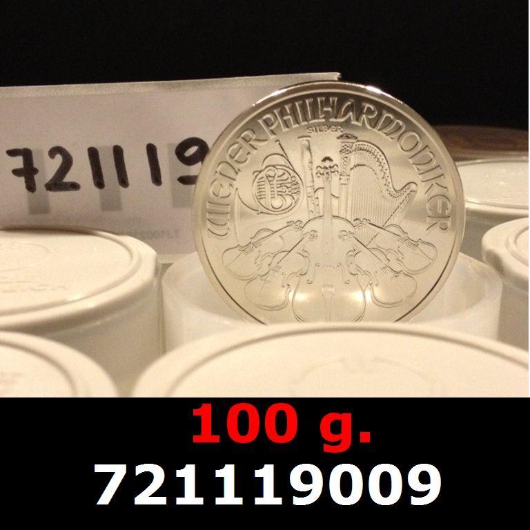 Réf. 721119009 100 grammes d\'argent pur - Philharmonique de Vienne (LSP)  Issu d un lot de 1000 pièces d une once - AVERS