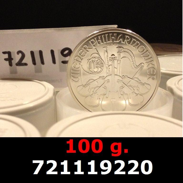 Réf. 721119220 100 grammes d\'argent pur - Philharmonique de Vienne (LSP)  Issu d un lot de 1000 pièces d une once - AVERS