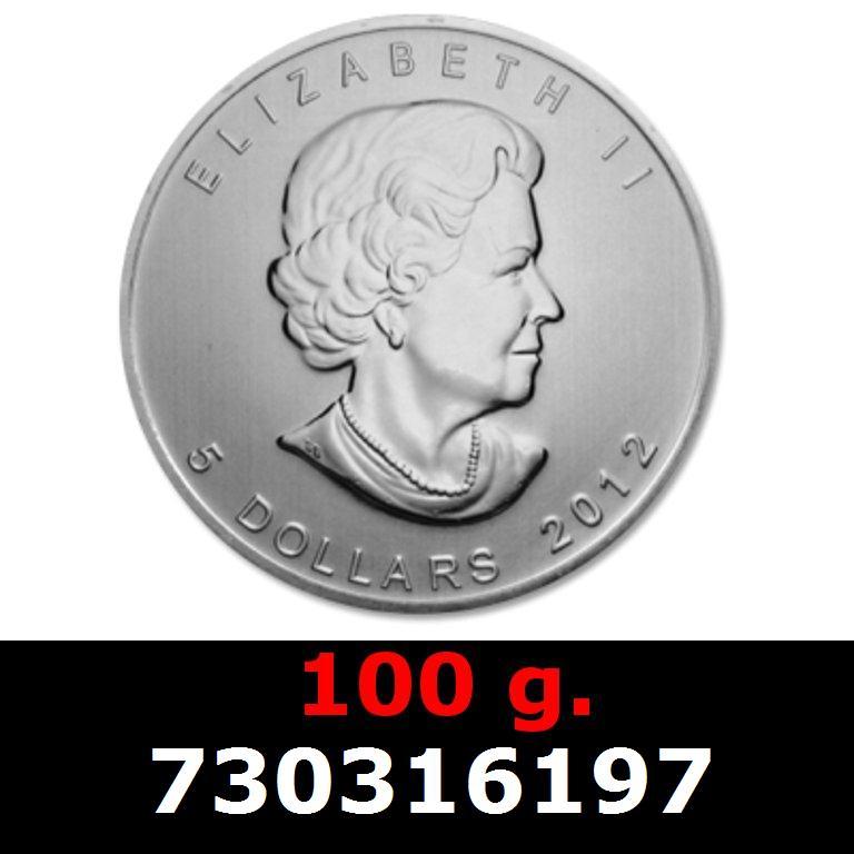 Réf. 730316197 100 grammes d\'argent pur - Maple Leaf (LSP)  Issu d un lot de 1000 pièces d une once - AVERS