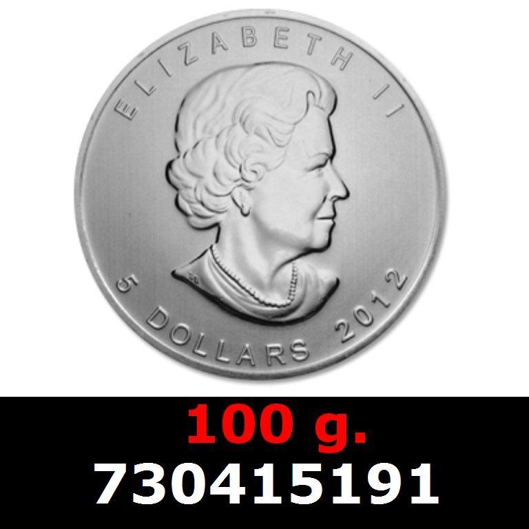 Réf. 730415191 100 grammes d\'argent pur - Maple Leaf (LSP)  Issu d un lot de 1000 pièces d une once - AVERS