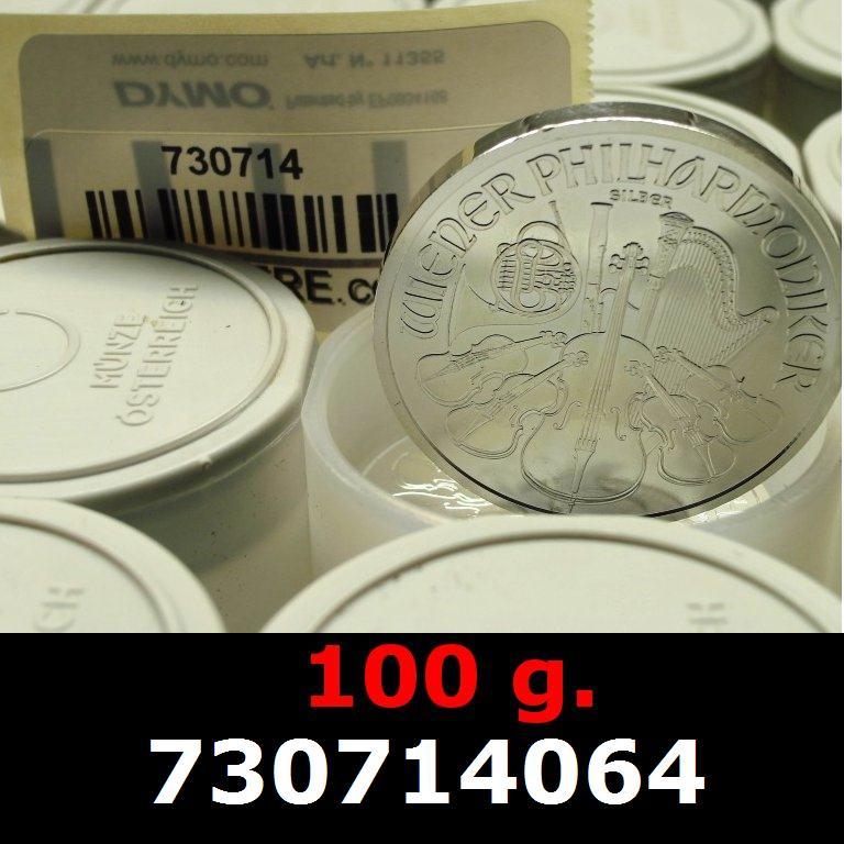 Réf. 730714064 100 grammes d\'argent pur - Philharmonique de Vienne (LSP)  Issu d un lot de 1000 pièces d une once - AVERS