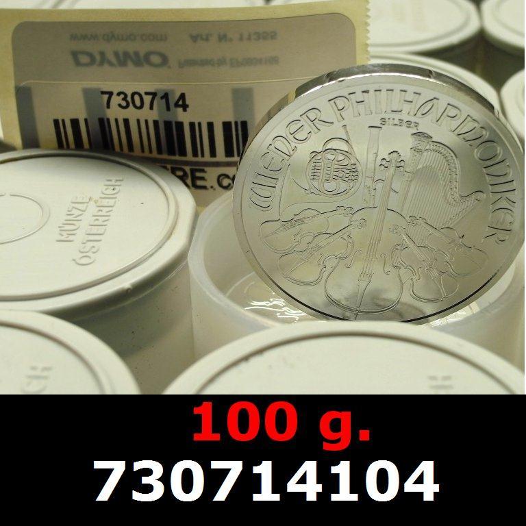 Réf. 730714104 100 grammes d\'argent pur - Philharmonique de Vienne (LSP)  Issu d un lot de 1000 pièces d une once - AVERS