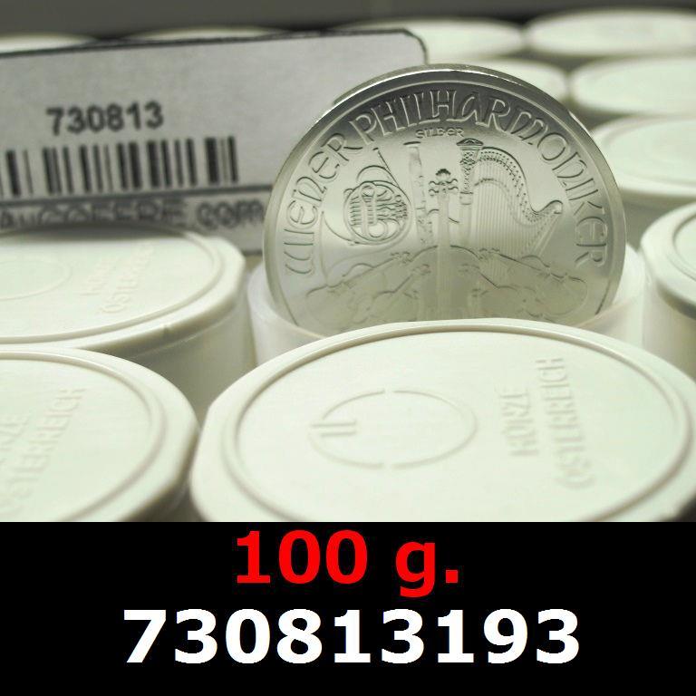 Réf. 730813193 100 grammes d\'argent pur - Philharmonique de Vienne (LSP)  Issu d un lot de 1000 pièces d une once - AVERS
