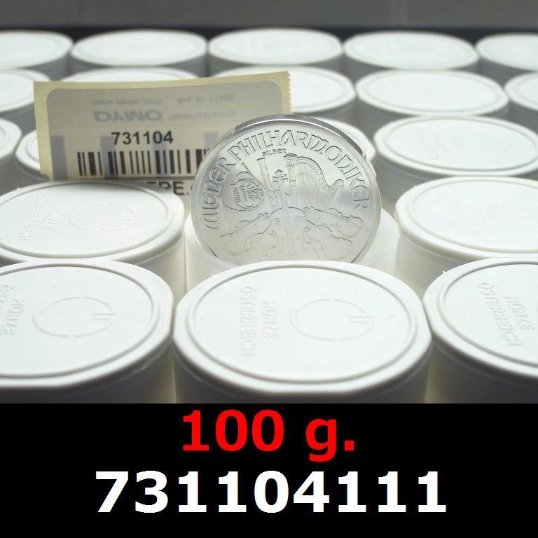 Réf. 731104111 100 grammes d\'argent pur - Philharmonique de Vienne (LSP)  Issu d un lot de 1000 pièces d une once - AVERS