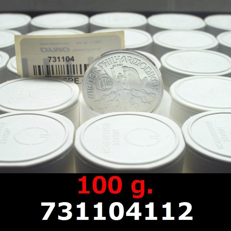 Réf. 731104112 100 grammes d\'argent pur - Philharmonique de Vienne (LSP)  Issu d un lot de 1000 pièces d une once - AVERS