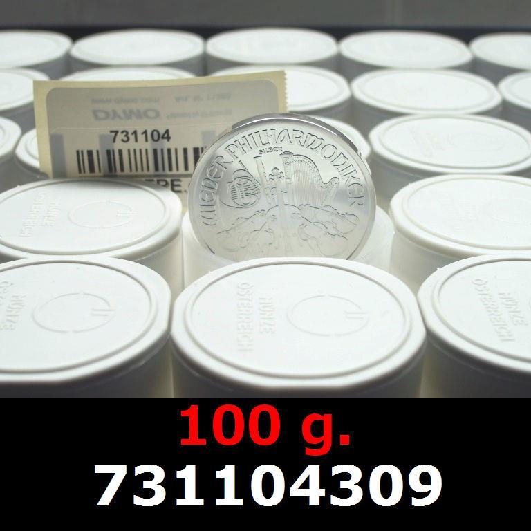 Réf. 731104309 100 grammes d\'argent pur - Philharmonique de Vienne (LSP)  Issu d un lot de 1000 pièces d une once - AVERS