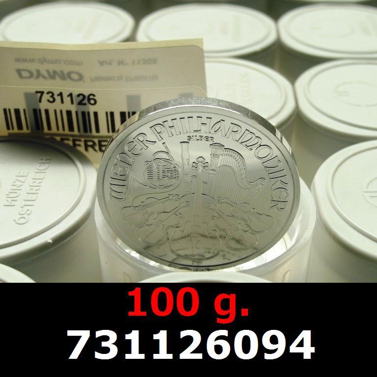 Réf. 731126094 100 grammes d\'argent pur - Philharmonique de Vienne (LSP)  Issu d un lot de 1000 pièces d une once - AVERS