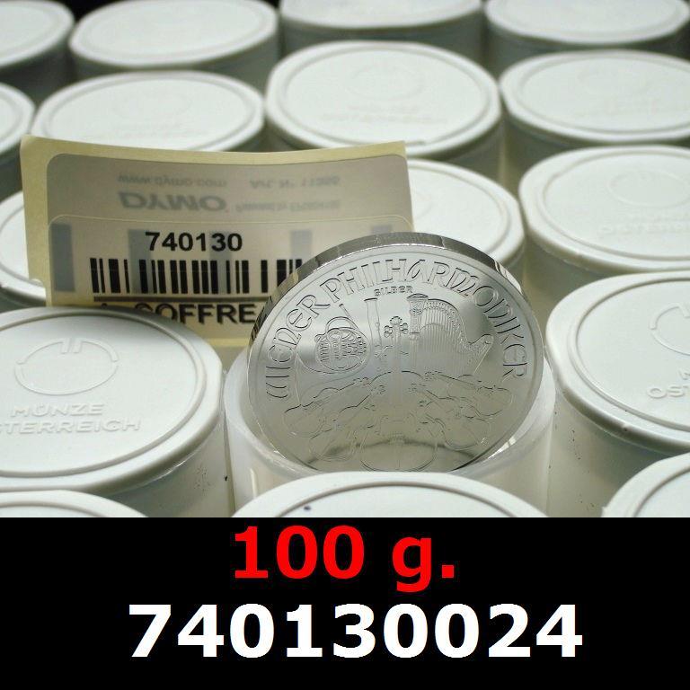 Réf. 740130024 100 grammes d\'argent pur - Philharmonique de Vienne (LSP)  Issu d un lot de 1000 pièces d une once - AVERS