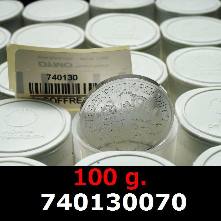 Réf. 740130070 100 grammes d\'argent pur - Philharmonique de Vienne (LSP)  Issu d un lot de 1000 pièces d une once - AVERS