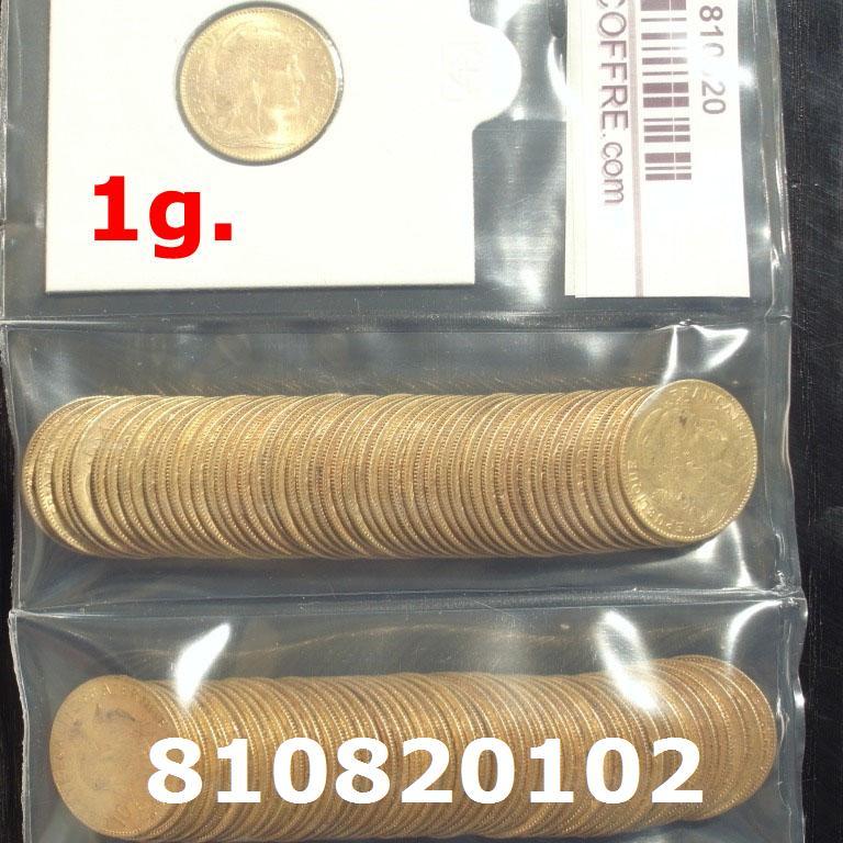 Réf. 810820102 1 gramme d\'or pur - Demi-Napoléon (LSP) 10 Francs Issu d un lot de 100 Mariannes Coq - AVERS