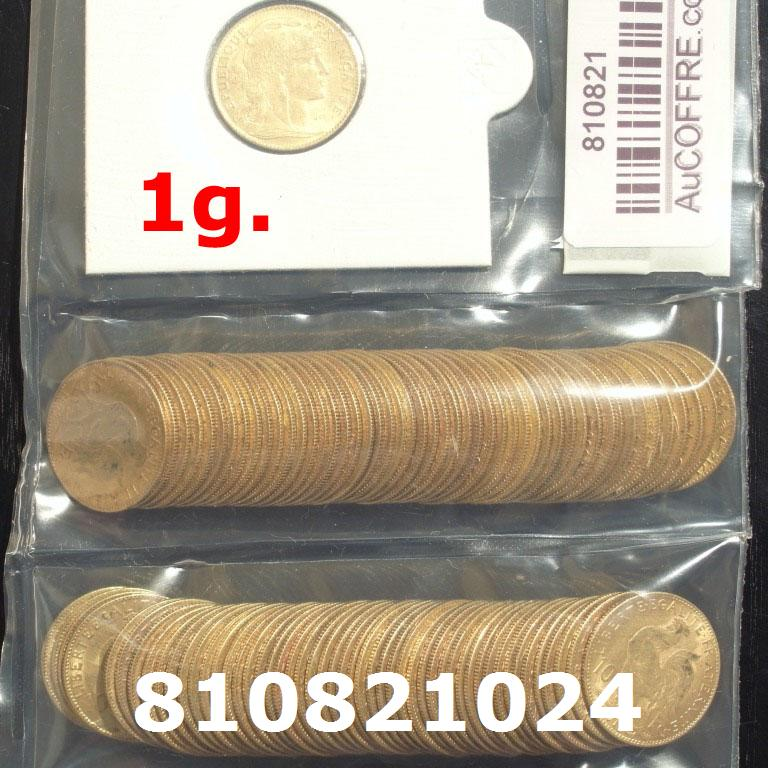 Réf. 810821024 1 gramme d\'or pur - Demi-Napoléon (LSP) 10 Francs Issu d un lot de 100 Mariannes Coq - AVERS