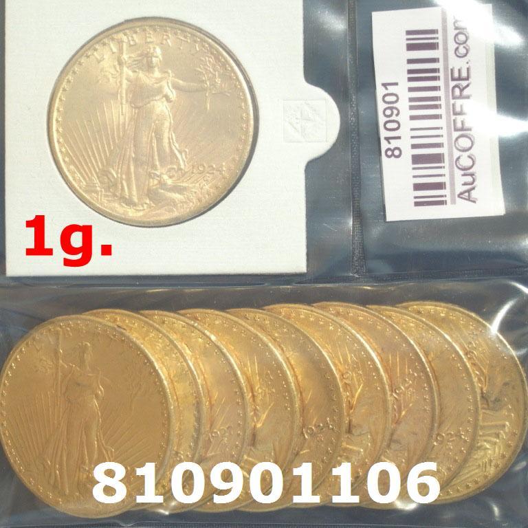 Réf. 810901106 1 gramme d\'or pur - Liberty 20$ (LSP)  Issu d un lot de 10 Liberty 20$ - AVERS