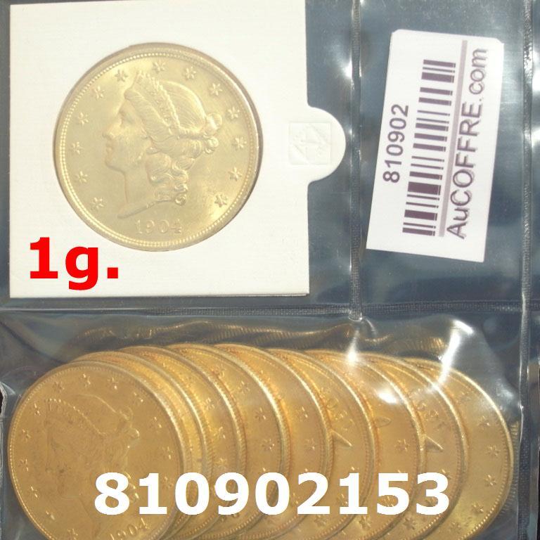 Réf. 810902153 1 gramme d\'or pur - Liberty 20$ (LSP)  Issu d un lot de 10 Liberty 20$ - AVERS