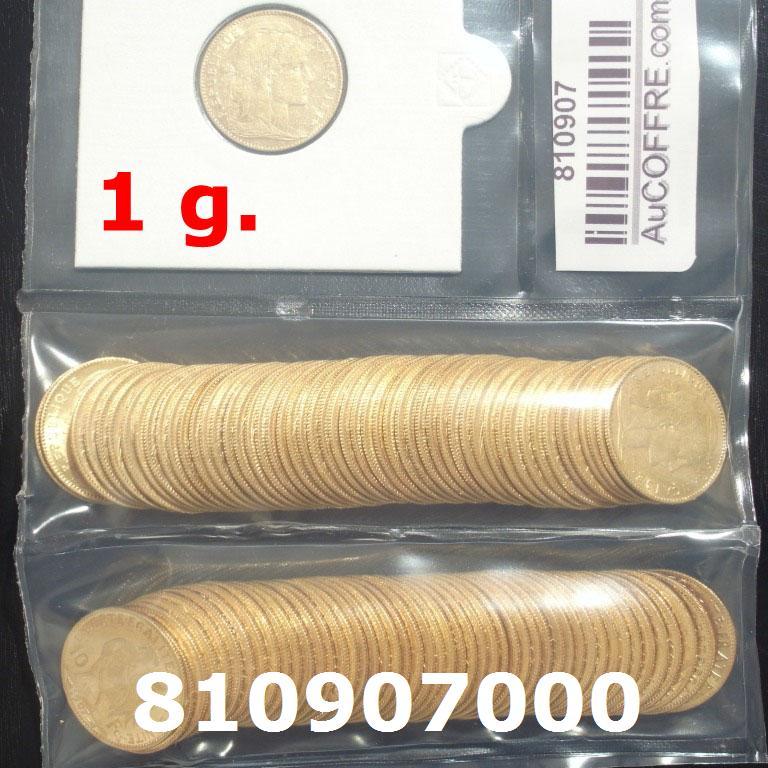 Réf. 810907000 1 gramme d\'or pur - Demi-Napoléon (LSP) 10 Francs Issu d un lot de 100 Mariannes Coq - AVERS
