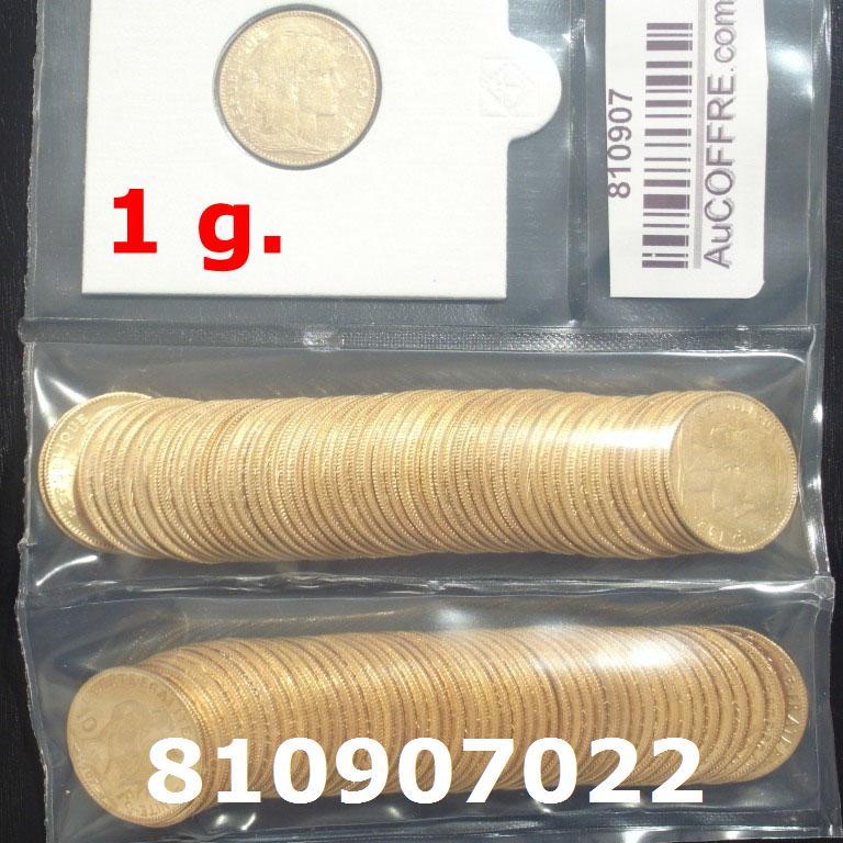 Réf. 810907022 1 gramme d\'or pur - Demi-Napoléon (LSP) 10 Francs Issu d un lot de 100 Mariannes Coq - AVERS