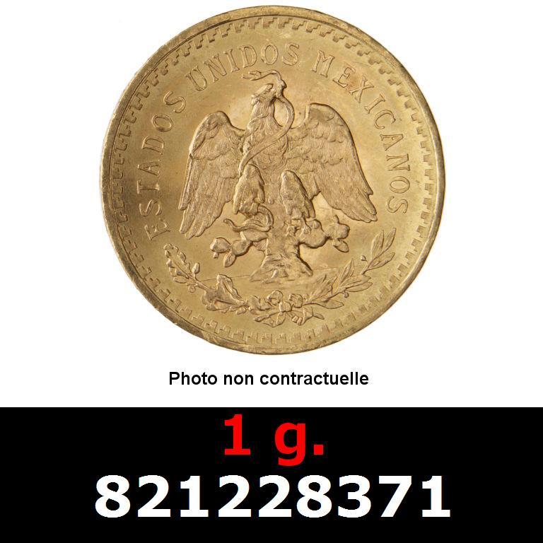 Réf. 821228371 1 gramme d\'or pur - 50 Pesos Mexique (LSP)  Issu d un lot de x10 50 Pesos - AVERS