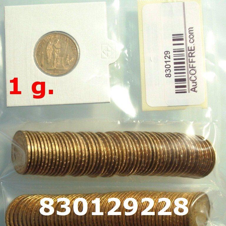 Réf. 830129228 1 gramme d\'or pur - Napoléon (LSP) 20 Francs Issu d un lot de 100 Génie IIIème République - AVERS