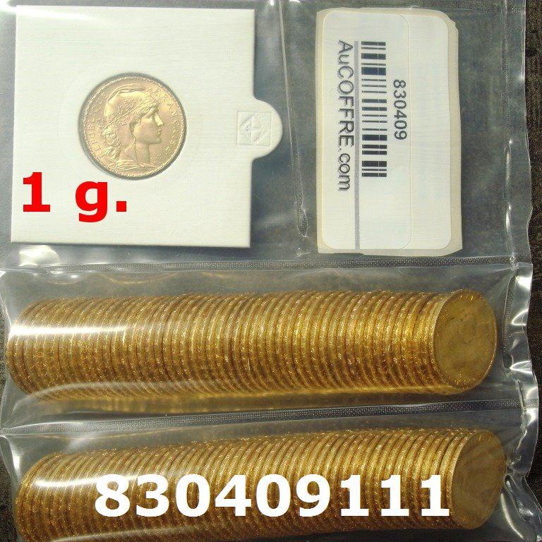 Réf. 830409111 1 gramme d\'or pur - Napoléon (LSP) 20 Francs Issu d un lot de 100 Mariannes Coq - AVERS