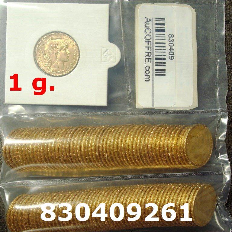 Réf. 830409261 1 gramme d\'or pur - Napoléon (LSP) 20 Francs Issu d un lot de 100 Mariannes Coq - AVERS