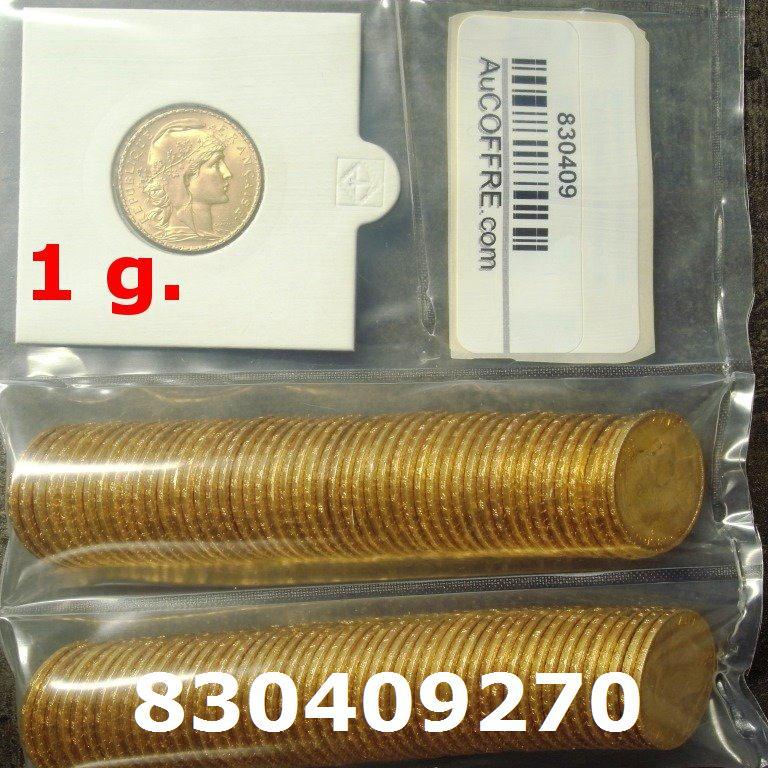 Réf. 830409270 1 gramme d\'or pur - Napoléon (LSP) 20 Francs Issu d un lot de 100 Mariannes Coq - AVERS