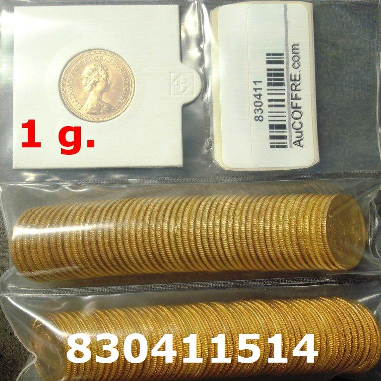 Réf. 830411514 1 gramme d\'or pur - Souverain (LSP)  Issu d un lot de 100 Elizabeth II - AVERS