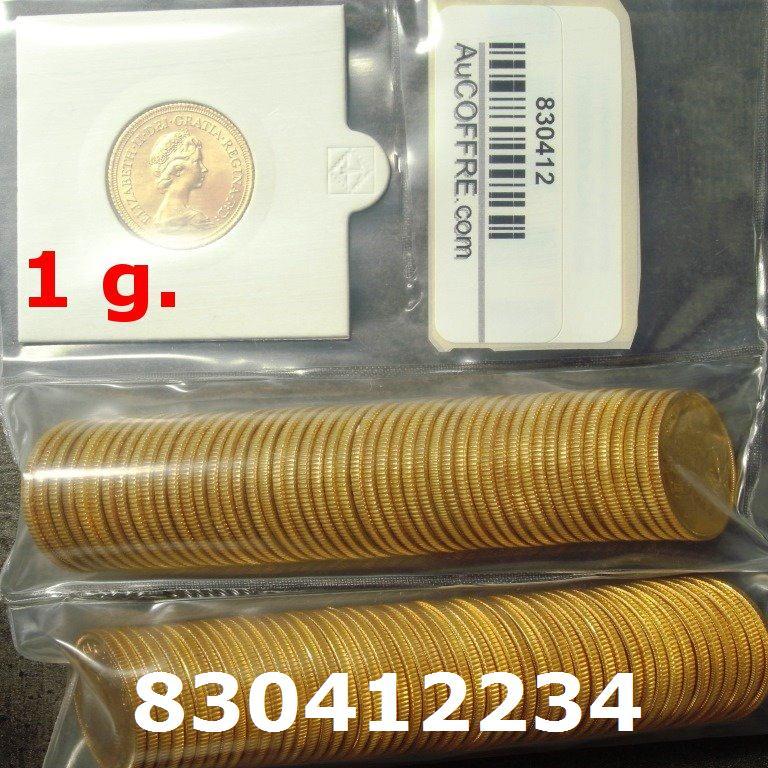 Réf. 830412234 1 gramme d\'or pur - Souverain (LSP)  Issu d un lot de 100 Elizabeth II - AVERS