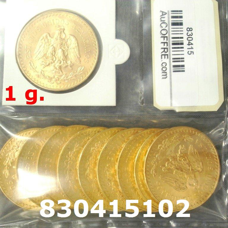 Réf. 830415102 1 gramme d\'or pur - 50 Pesos Mexique (LSP)  Issu d un lot de x10 50 Pesos - AVERS