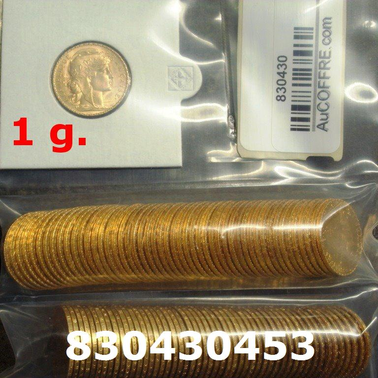 Réf. 830430453 1 gramme d\'or pur - Napoléon (LSP) 20 Francs Issu d un lot de 100 Mariannes Coq - AVERS