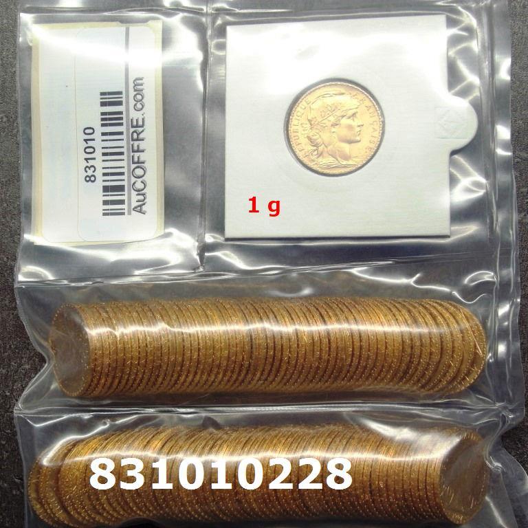 Réf. 831010228 1 gramme d\'or pur - Napoléon (LSP) 20 Francs Issu d un lot de 100 Mariannes Coq - AVERS