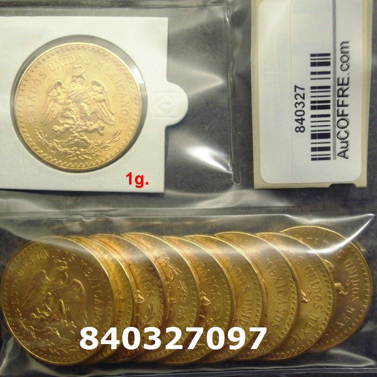 Réf. 840327097 1 gramme d\'or pur - 50 Pesos Mexique (LSP)  Issu d un lot de x10 50 Pesos - AVERS
