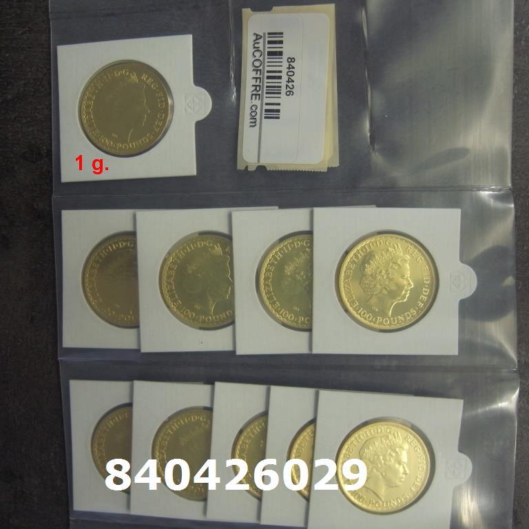 Réf. 840426029 1 gramme d\'or pur - Britannia (LSP)  Issu d un lot de 10 Britannia 1 once 9999 - AVERS