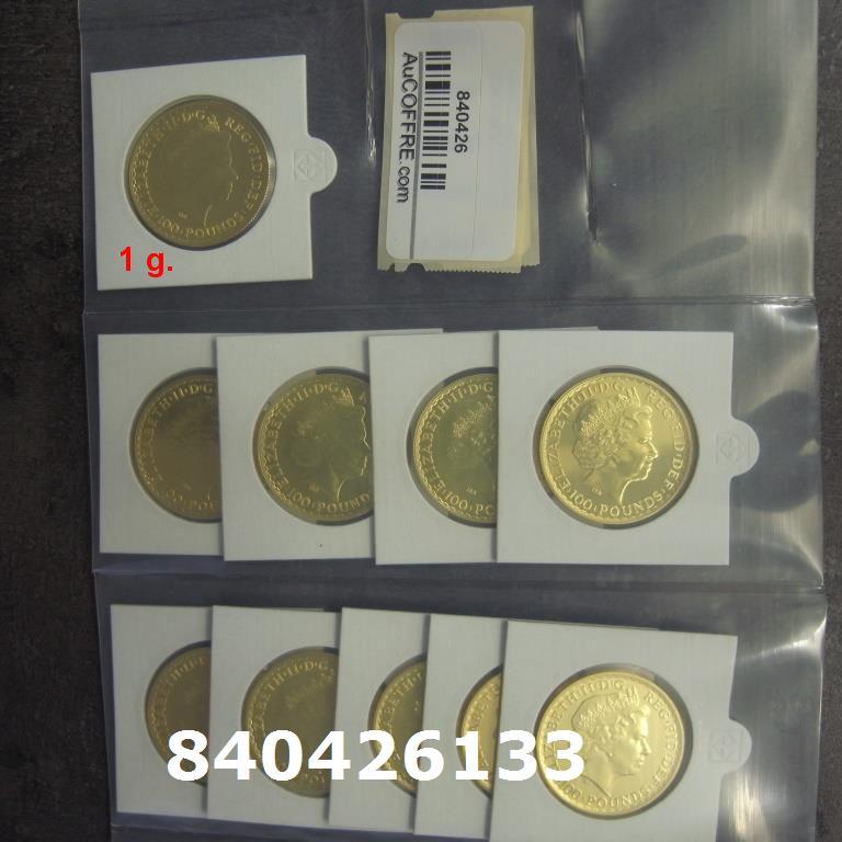 Réf. 840426133 1 gramme d\'or pur - Britannia (LSP)  Issu d un lot de 10 Britannia 1 once 9999 - AVERS