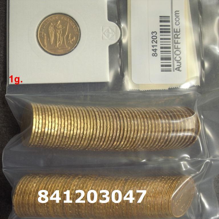 Réf. 841203047 1 gramme d\'or pur - Napoléon (LSP) 20 Francs Issu d un lot de 100 Génie IIIème République - AVERS