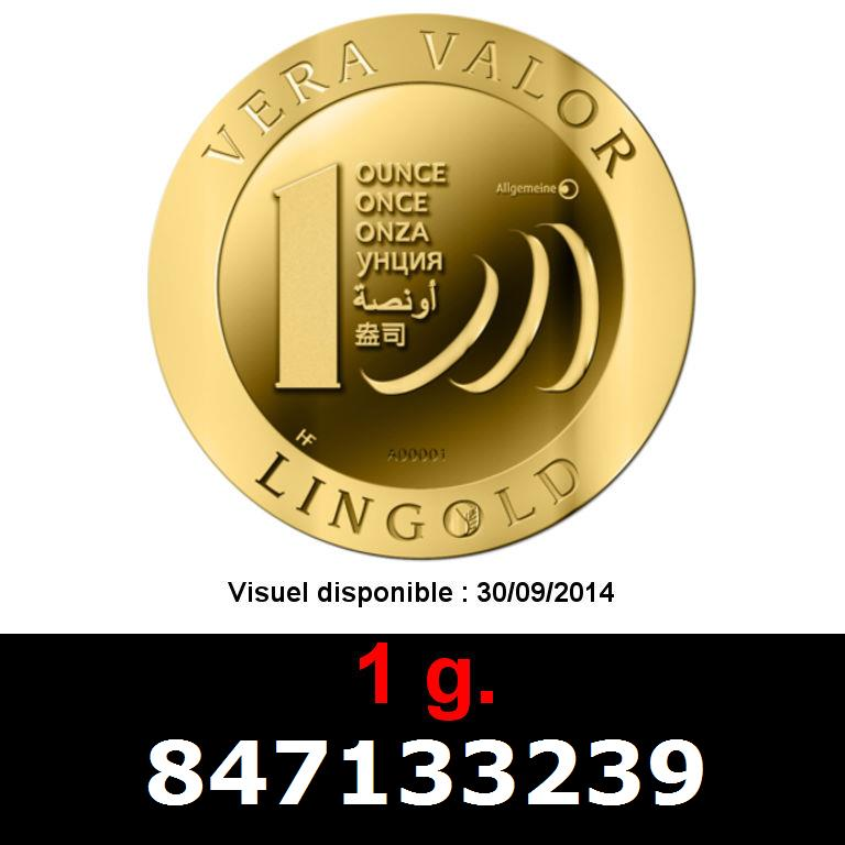 Réf. 847133239 1 gramme d\'or pur - Vera Valor (LSP)  Issu d un lot de 10 Vera Valor 1 once - AVERS