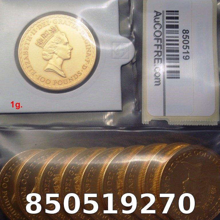 Réf. 850519270 1 gramme d\'or pur - Britannia (LSP)  Issu d un lot de 10 Britannia 1 once - AVERS