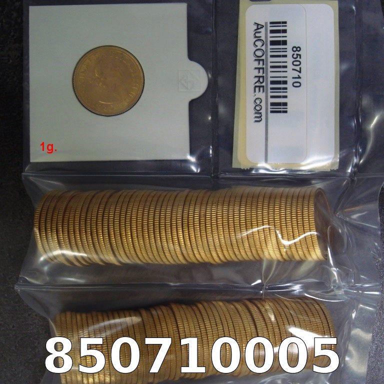 Réf. 850710005 1 gramme d\'or pur - Souverain (LSP)  Issu d un lot de 100 Elizabeth II - AVERS