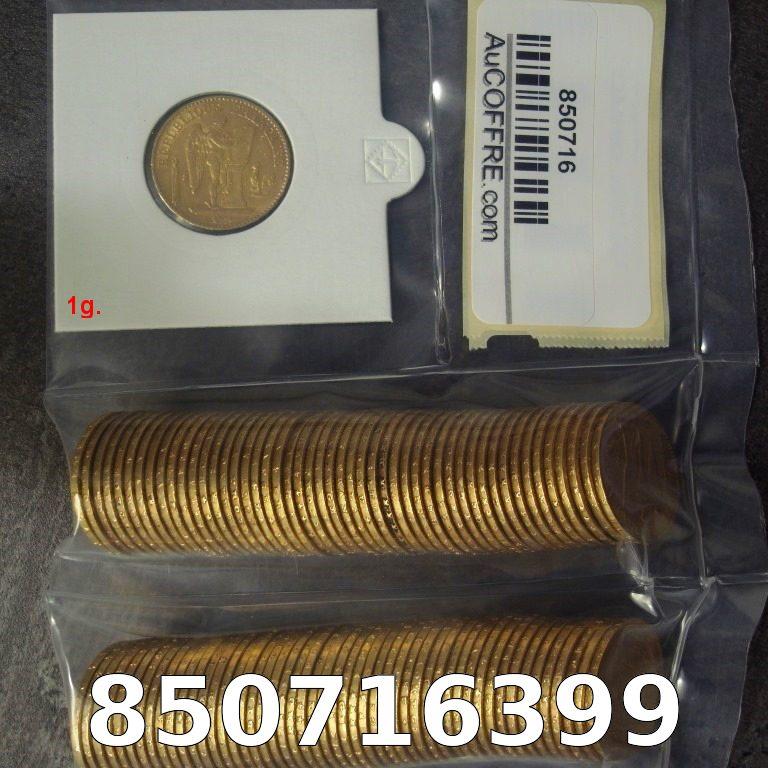 Réf. 850716399 1 gramme d\'or pur - Napoléon (LSP) 20 Francs Issu d un lot de 100 Génie IIIème République - AVERS