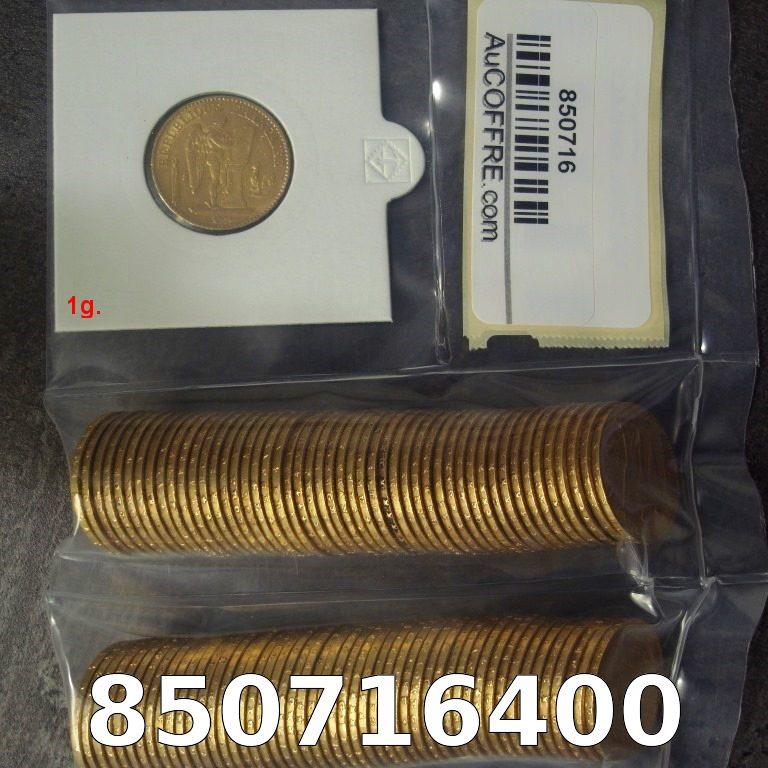 Réf. 850716400 1 gramme d\'or pur - Napoléon (LSP) 20 Francs Issu d un lot de 100 Génie IIIème République - AVERS